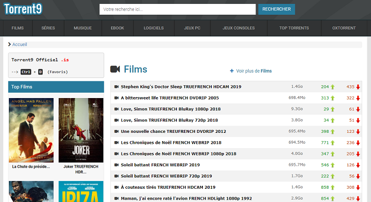 Page d'accueil du site Torrent9.