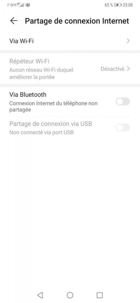 Partage de connexion internet via Wifi sur Android