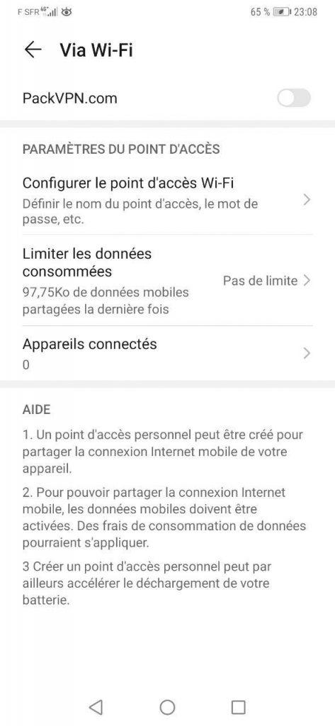 Configuration de point d'accès WI-fi sur Android